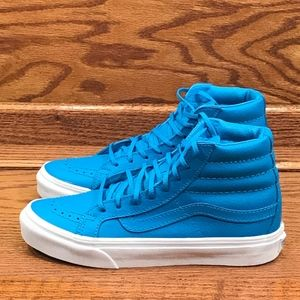 Vans Sk8 Slim Neon Leather Neon Blue Shoes